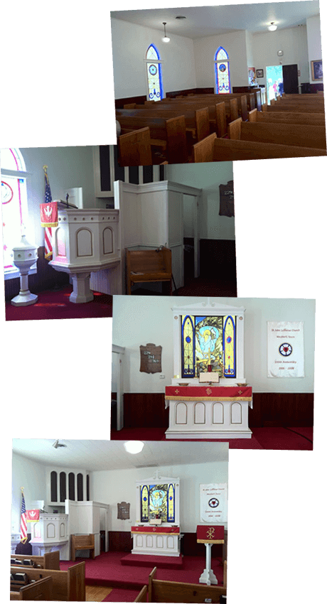 Inside St John Lutheran Church in Westhoff Texas